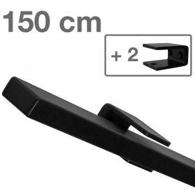 Design-Stahl-Geländer - Rechteckig - Schwarz - 150 cm - 2 Halter