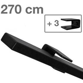 Design-Stahl-Geländer - Rechteckig - Schwarz - 270 cm - 3 Halter
