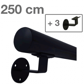 Handlauf Schwarz - modern - 250 cm + 3 Halterungen