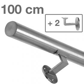 """Edelstahl-Treppengeländer - """"gebürstet"""" - 100 cm + 2 Halterungen"""