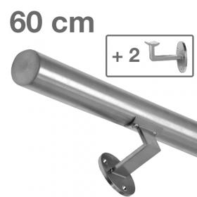 """Edelstahl-Treppengeländer - """"gebürstet"""" - 60 cm + 2 Halterungen"""