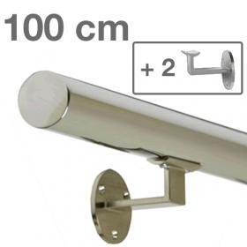 """Edelstahl-Treppengeländer - """"poliert"""" - 100 cm + 2 Halterungen"""