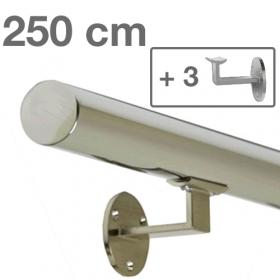 """Edelstahl-Treppengeländer - """"poliert"""" - 250 cm + 3 Halterungen"""