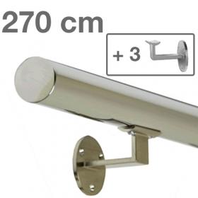 """Edelstahl-Treppengeländer - """"poliert"""" - 270 cm + 3 Halterungen"""