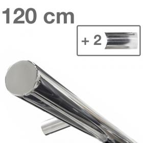 Design-Edelstahl-Geländer - Poliert - 120 cm - 2 Halter
