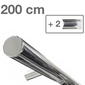 Design-Edelstahl-Geländer - Poliert - 200 cm - 2 Halter