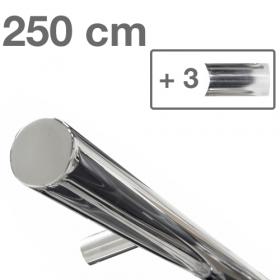 Design-Edelstahl-Geländer - Poliert - 250 cm - 3 Halter