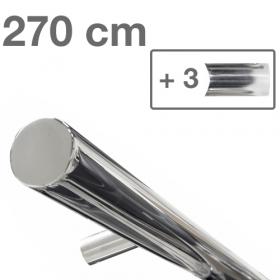Design-Edelstahl-Geländer - Poliert - 270 cm - 3 Halter