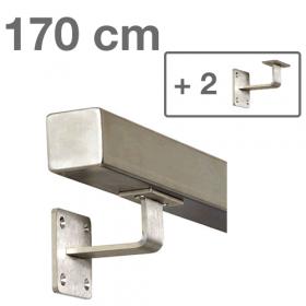 """Edelstahl-Treppengeländer - """"vierkant"""" - 170 cm + 2 Halterungen"""