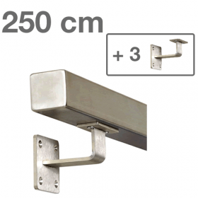 """Edelstahl-Treppengeländer - """"vierkant"""" - 250 cm + 3 Halterungen"""