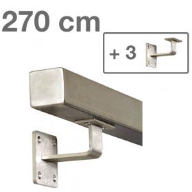 """Edelstahl-Treppengeländer - """"vierkant"""" - 270 cm + 3 Halterungen"""