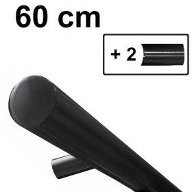 Design-Stahl-Handlauf - Schwarz - 60 cm inkl. 2 Haltern
