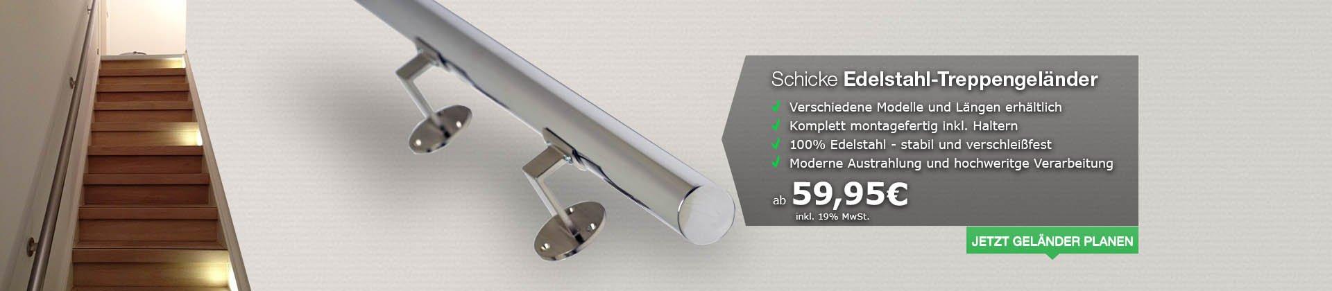 Edelstahl-Treppengeländer: Montagefertig und in verschiedenen Ausführungen und Längen erhältlich.